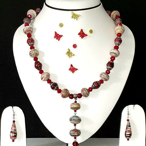 Neck piece set of red and brown round beads with matching ear rings
