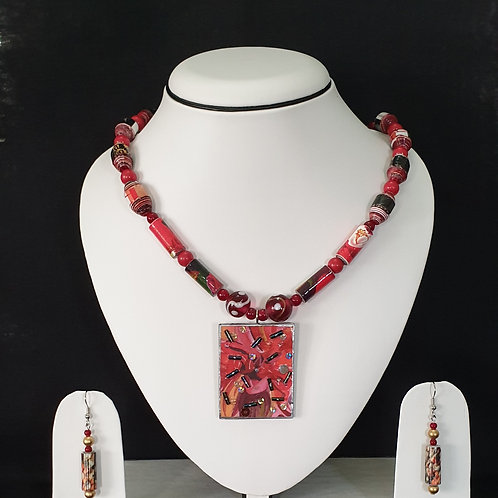 Red Toned Flat Pendant Set with Matching Earrings