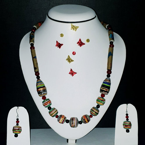 Neck piece set of multicolour, multi design beads  with matching ear rings