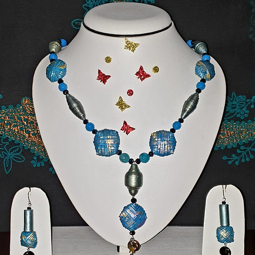 Neck piece set of blue tone crystal shape beads  with matching ear rings