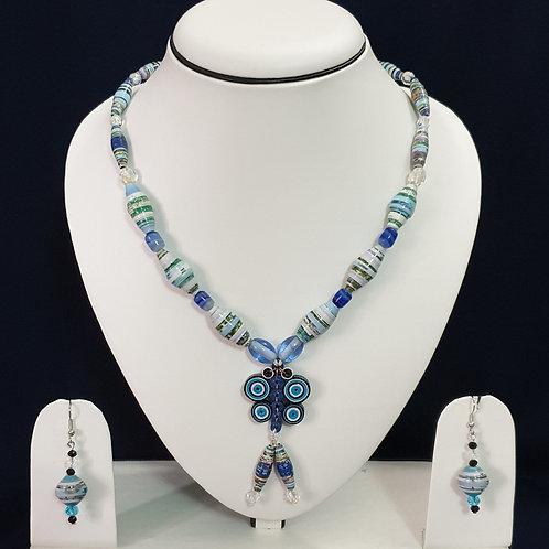 Titli Blue Set with Light Blue Drop Earrings