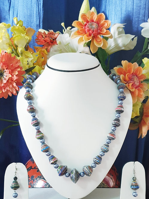 Blue Tones Disk Beads Set & Drop Earrings