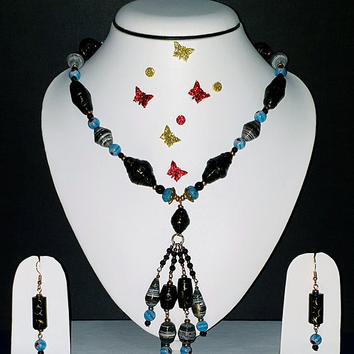 Neck piece set of black and blue beads with matching ear rings