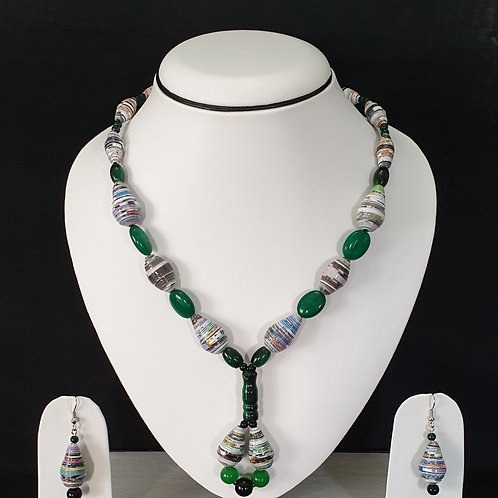 Emerald Green Overtones Long Set with Earrings