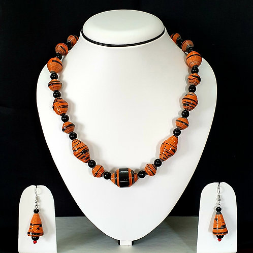 Orange and Black Medium Set with Matching Earrings