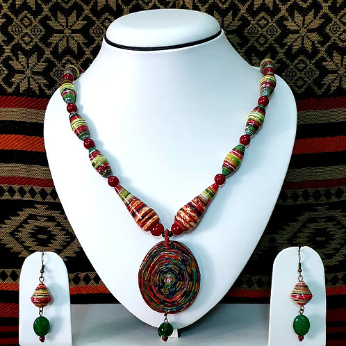 Short Conical Beads with Disk Pendant & Drop Earrings