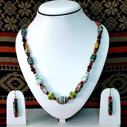 Multi Colored Short Set with Long Bead Earrings