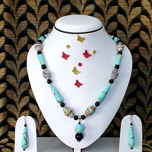 Neck piece set of highlighted ocean blue beads with matching ear rings