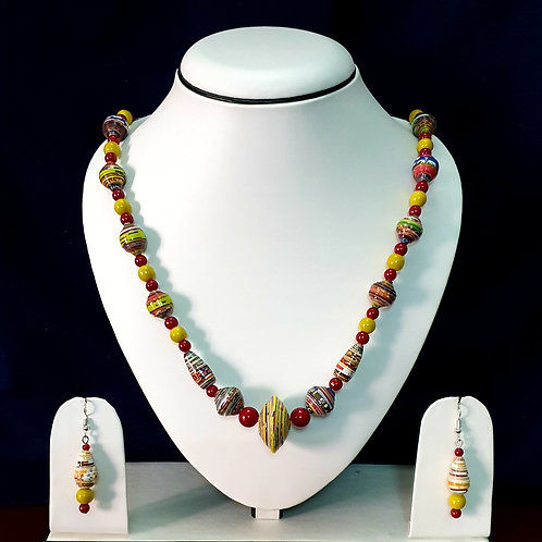 Yellow & Red Set with Disk Pendant