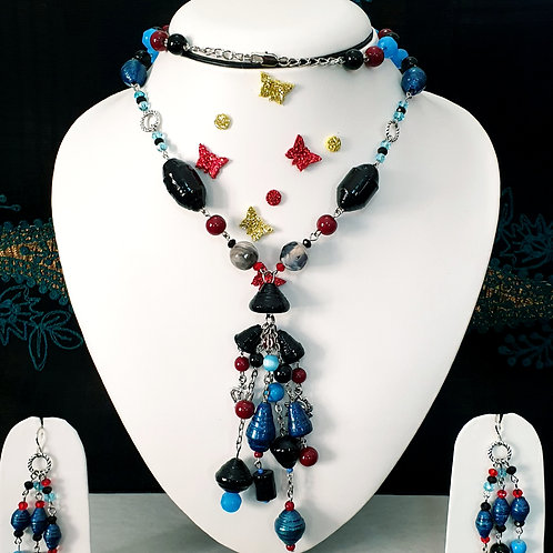 Neck piece set of blue beads with cluster pendant and matching ear rings
