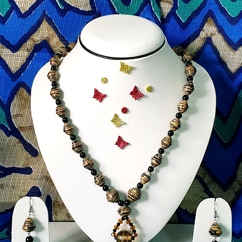 Neck piece set of brown and black beads with pendent and drop ear rings