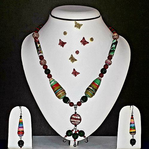 Neck piece set of multicolour beads  and anchor pendant with matching ear rings