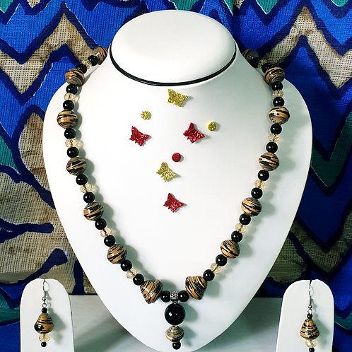 Neck piece of brown and black beads with matching ear rings