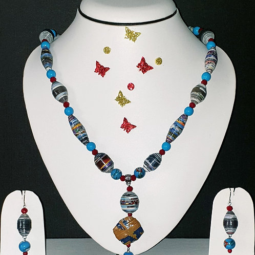 Neck piece set of blue beeds  with matching ear rings