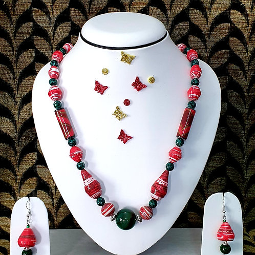 Neck piece set of red and green beads with  bell ear rings