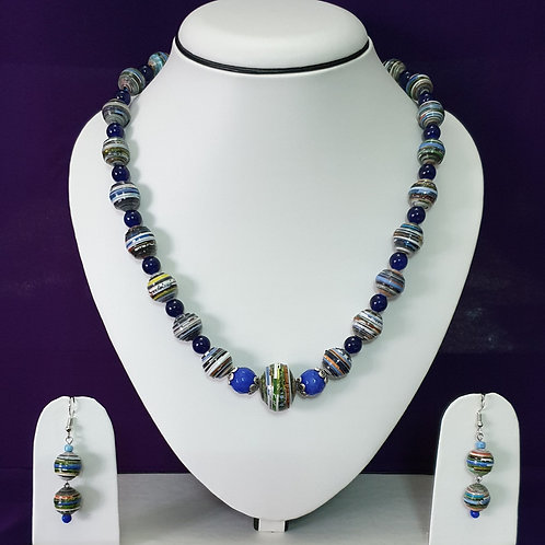 Round Beads Short Set with Indigo Tones and Earrings