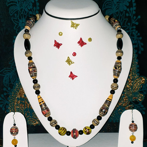 Neck piece set of multicolour cone and round beads with matching ear rings