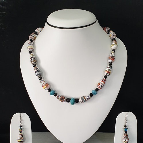 Neck set of cone shaped beads with matching ear rings