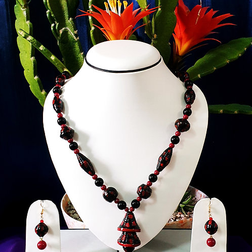 Black & Red Set with Double Bell Pendant