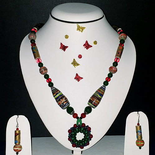 Neckpiece set of multicolour  beads and large ring pendant with matching ear rin