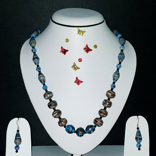 Neck piece set of blue and brown round beads with matching ear rings