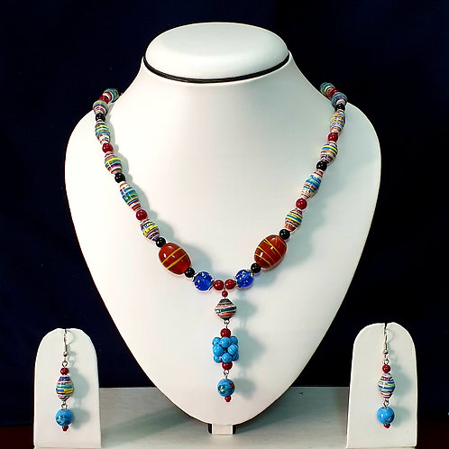 Red & Blue Short Set with Cluster Beads Pendant