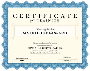Certification Feng Shui Tisha Morris