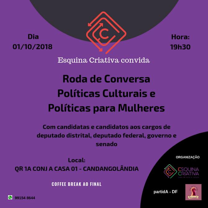 Roda de Conversa-Políticas Culturais e Políticas para as Mulheres