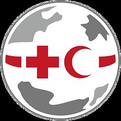 Weltkarte mit Rotem Kreuz und rotem Halbmond Symbol