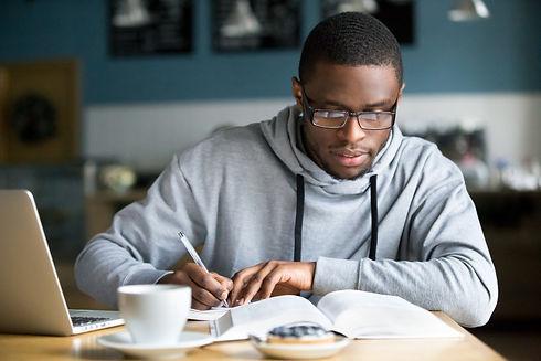 Focused millennial african american stud