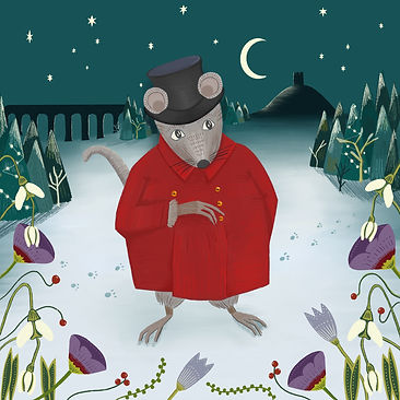 An illustration of The Charming Rat. He is standing outside, upright on his hind legs like a person, on the snowy ground. It is night, there is a crescent moon and multiple stars in the sky. On the horizon on one side is a silhouette of a hill with a tower on top, and on the other side a silhouette of a bridge with multiple arches. The Rat is wearing a black top hat, his ears poking out through holes in the rim. He is wearing a red coat with gold buttons. He is holding one arm across his chest and one arm behind his back in a slight bow position. Behind him are pointy, green pine trees dusted with snow. The bottom half of the image is framed by purple and white flowers with red berries.