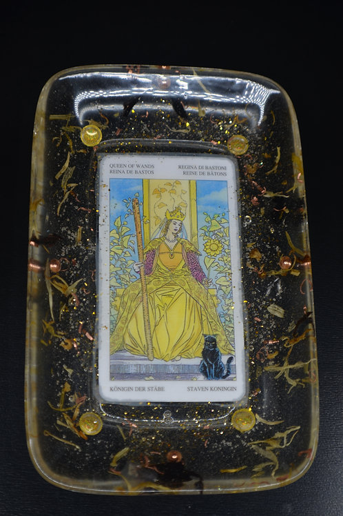 Queen of Wands Tarot Card Jewelry Dish/Rolling Tray