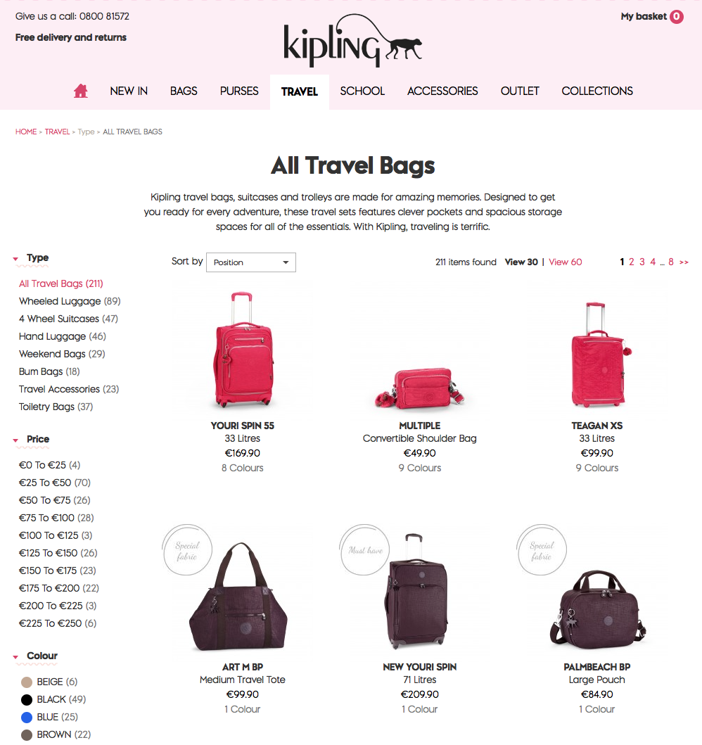 Kipling Banner and Product Web Copy