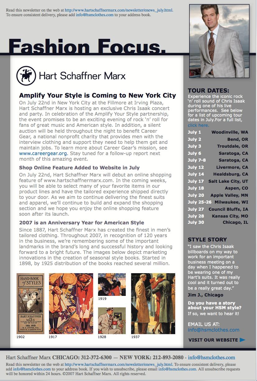 Hart Schaffner Marx Email Newletter