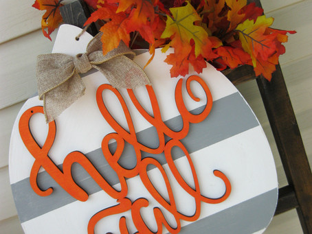 Pumpkin Wood Sign Decor