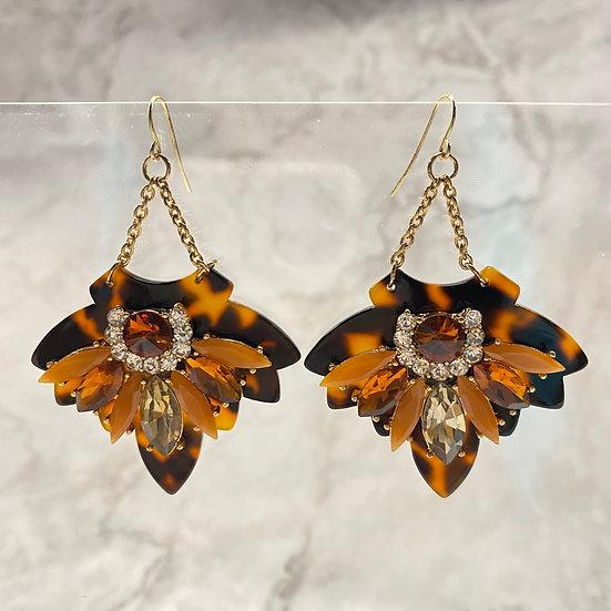 Bold Leopard Rhinestone Dangle Earrings