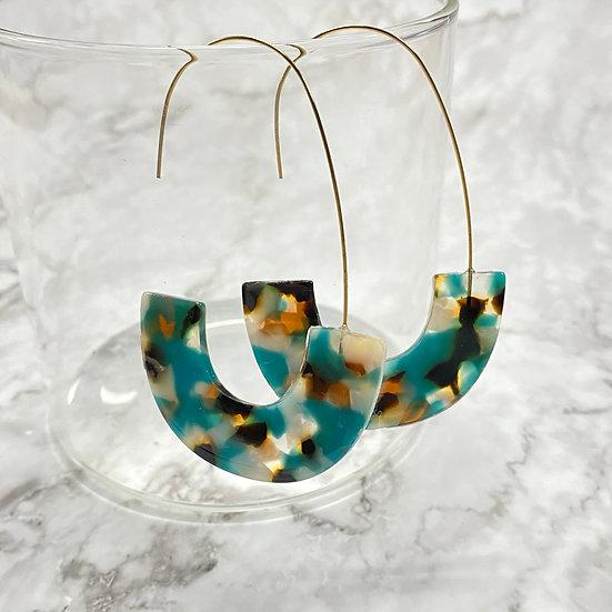 Boho Resin & Wire Hoop Earrings