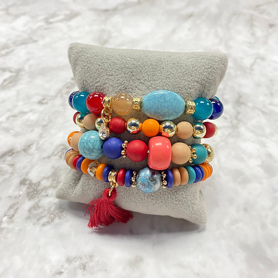 Beaded Stacking Bracelets - Multi Colored