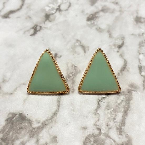 Art Deco Triangle Stud Earrings - Mint