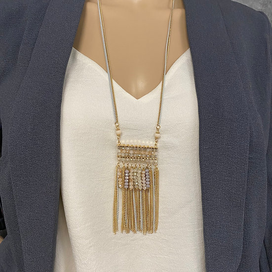 Beaded Segment Long Chain Necklace