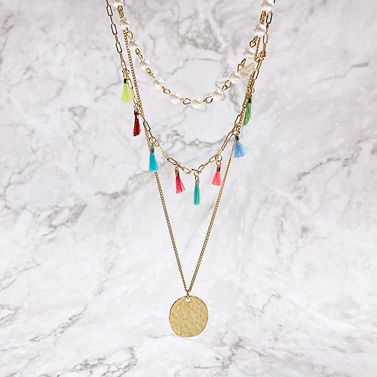 Coin & Tassel Layered Necklace - KIDS Jewelry Making Kit