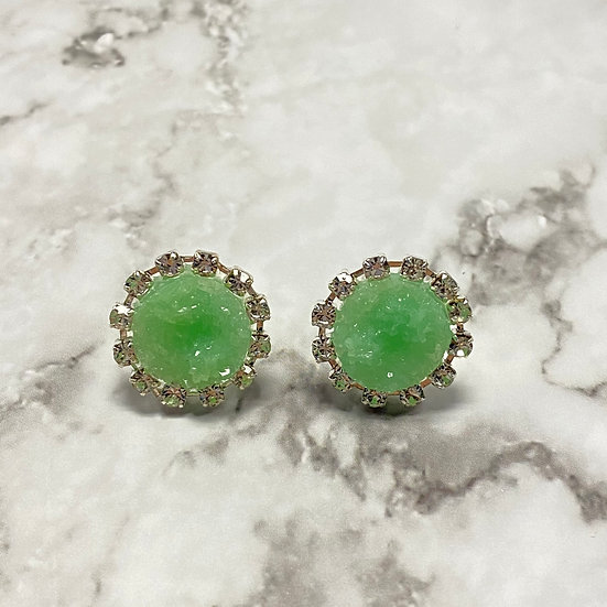 Rhinestone Druzy Stud Earrings - Mint