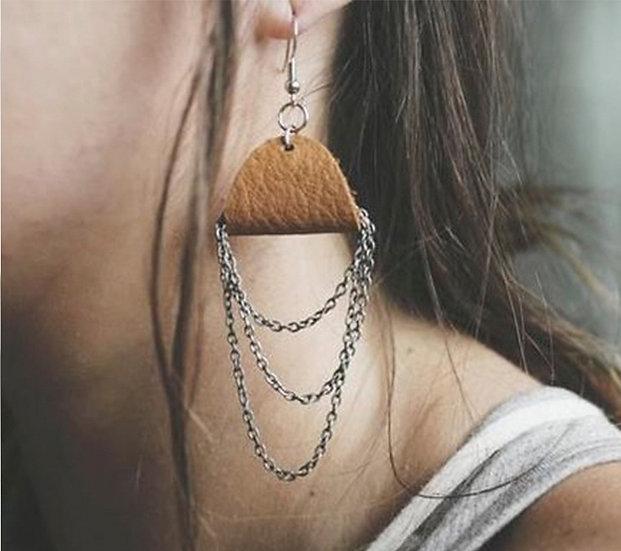 Leather & Chain Earrings - Jewelry Making Kit