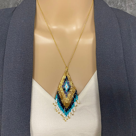White, Turquoise & Navy Miyuki Bead Gold Chain Fringe Pendant Necklace