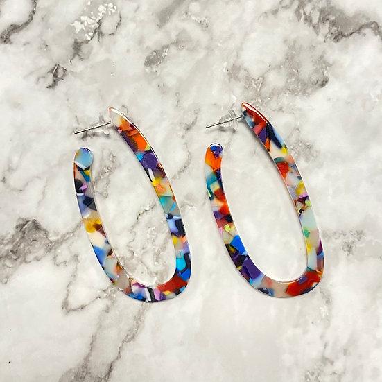 Rainbow Confetti Long Hoop Earrings