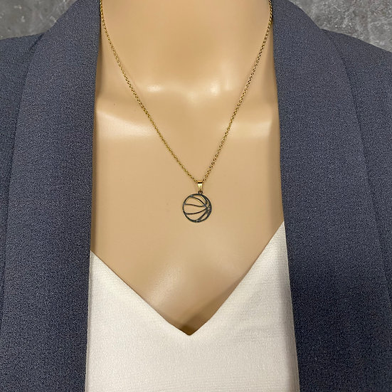 Dainty Gold Chain Basketball Charm Necklace