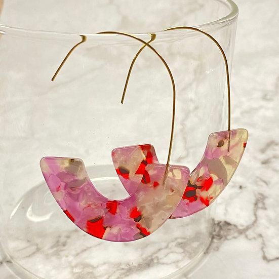 Je t'aime Resin & Wire Hoop Earrings