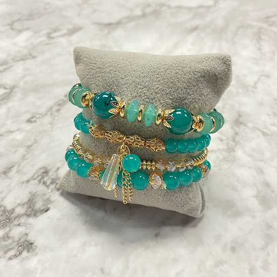 Beaded Stacking Bracelets - Green & Gold