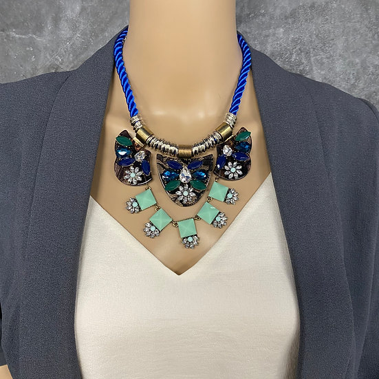 Blue Rope Jeweled Statement Necklace