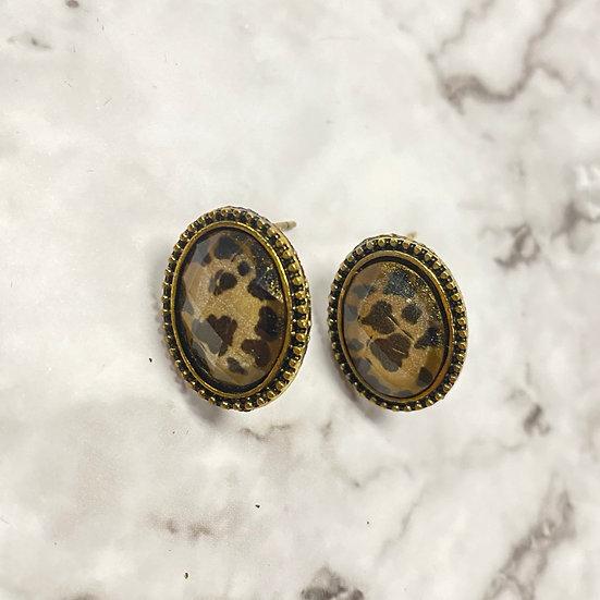 Oval Leopard Stud Earrings